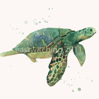 Get Free shipping now, SEA TURTLE Print, Future Deep Sea Diver Gift,