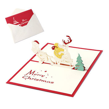 3D Pop UP Holiday Greeting Cards Christmas Sleigh Santa Claus Thanksgiving Gift -Y102