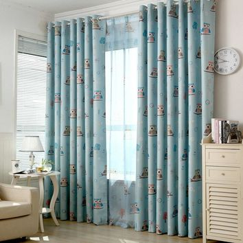 Owl Kids Curtain Blackout for Baby Room Printed Tulle for Children's Bedroom Window Treatment