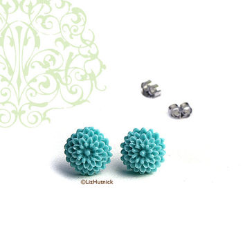 Mini Aqua Blue Mum Posts. Resin Flower Studs. Spring Fashion Earrings