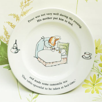 Childrens Plate, Beatrix Potter, Peter Rabbit, Side Plate, New Baby Gift, Nursery Decor, Small Plate, Collectors Plate, Wedgwood - 1990s