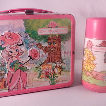 Vintage 1983 Rose Petal Place Metal Lunch Box Thermo Flower Garden Doll Aladdin Industries