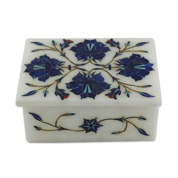 Marble inlay jewelry box, 'Blue Muse'