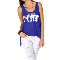 Royal Blue Lil Bit Country Tank Top