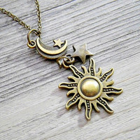 moon, star & sun charms pendant necklace