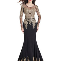 MisShow Crystals Beaded Lace Mermaid Evening Dress For Women Formal With Long Sleeves