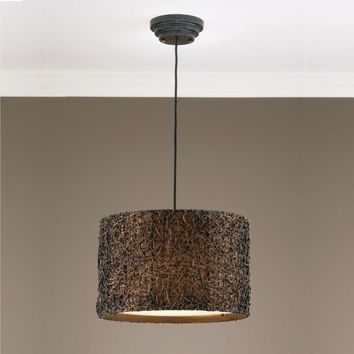 Knotted Rattan Espresso Drum Pendant By Uttermost