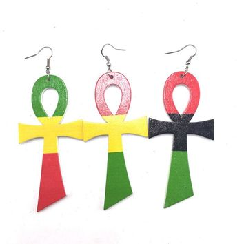 3 Pairs Rasta Ankh Wooden Earrings