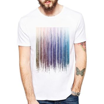 Newest Fashion Grunge Dripping Rainbow Misty Forest Design Men t-shirt Summer Short Sleeve Casual Tops Hipster Tee Shirts
