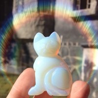 Opalite Cat Figurine
