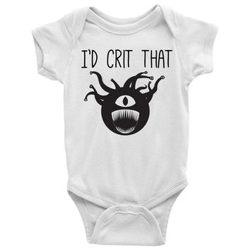 I'd Crit That (Beholder) Baby Onesuit