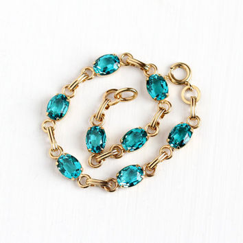 Vintage 12k Yellow Gold Filled Simulated Blue Topaz Teal Glass Stone Bracelet - Retro 1960s Open Back Oval Glass Signed Van Dell Jewelry