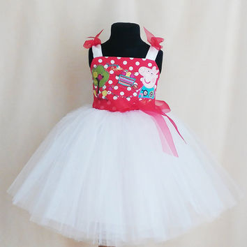 Beautiful Red/White Polkadot Peppa Pig Birthday Dress, Peppa Pig Tutu Dress, Peppa Pig Party