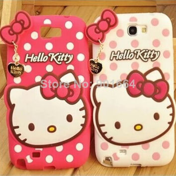 3D Hello Kitty Cartoon Cute Silicon Case Cover For iPhone 4 4s 5 5s For Samsung Galaxy SIII S3 i9300 S4 i9500 S5 Note 2 Note 3