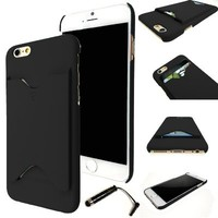 "Wydan Rubberized 1 Piece Thin Credit Card ID Holder Hard Case Cover (Holds 2 Cards) For Apple iPhone 6 4.7"" - Black"