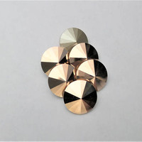 Six Rose Gold 1122 12mm Foiled Swarovski Pointed Back Rivoli DKSJewelrydesigns
