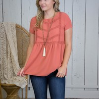 Maplewood Lace Detail Top, Coral
