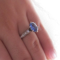Vintage Periwinkle Ceylon Blue Sapphire Diamond Engagement Wedding Ring Alternative 14k 585 White Gold