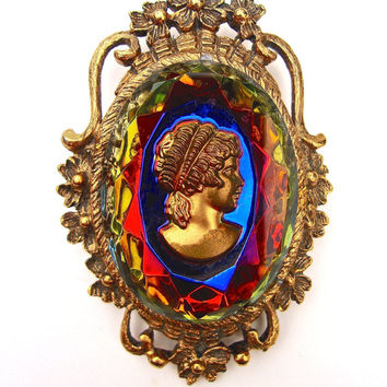 Intaglio Carnival Glass Cameo Brooch Pendant, Beveled, Gold Tone....Vintage