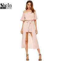 SheIn Flutter Sleeve Self Tie Maxi Romper Summer Beach Rompers Womens Half Sleeve Off The Shoulder Romper With Skirt Overlay