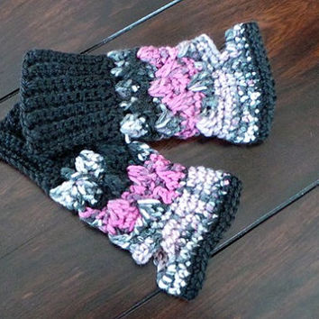 Fingerless Mitts in pinks, grays & black; average to small woman's size; available in other sizes; matching hat also available in shop