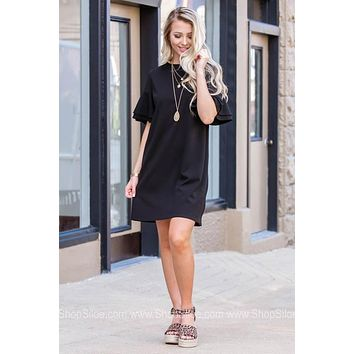 Tiered Flutter Sleeve Weekend Dress | Black