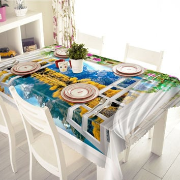 3D Tablecloths Yellow Scenic Landscapes Printing Waterproof/oil-proof Thicken Multi-size Rectangular/Circular Tables Home-T002