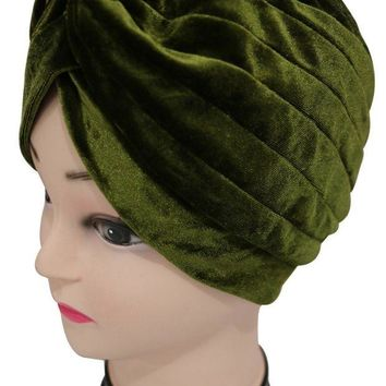 ONETOW 2017  New Europe Women Winter Fashion Black Grey Amy Green Pink Plain Color Velvet Muslim Turban Hats  Indian Caps