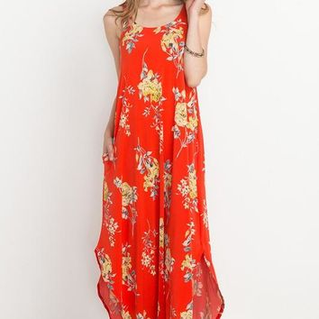 Blooming Meadows Maxi Dress (Coral)