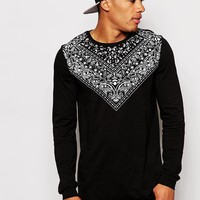 ASOS Longline Long Sleeve T-Shirt With Paisley Yoke Print