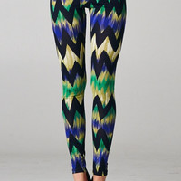 Multi-Blue Chevron Leggings