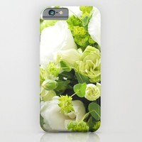 Bouquet from different white seasonal flowers iPhone & iPod Case by Yumehana Design Fine Art Photography