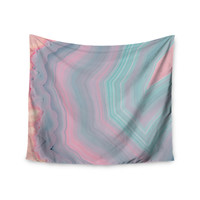 "Cafelab ""Sweet Pastel Agate"" Pink Blue Wall Tapestry"