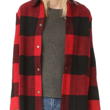 Olive Buffalo Plaid Oversized Coat