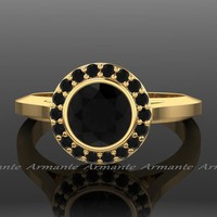 Gold Vintage Style Natural Black Diamond Engagement Ring