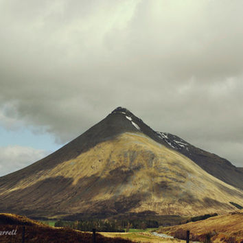 Mountain Photography, Scotland Photography, Large Wall Art, Landscape Photography, Adventure, Mustard Yellow, Grey, Black - Ben Dorain