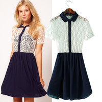 Chiffon Peter Pan Collar Lace Short Sleeve Pleated A-Line Mini Dress