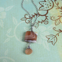 Brown Agate Peach Moonstone Necklace, Oxidized 925 Sterling Silver