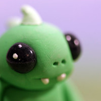 Chupacabra Figurine Green OOAK Designer Toy Monster Sculpture