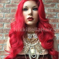 Red Hair Curly Lace Part Front Wig 22""