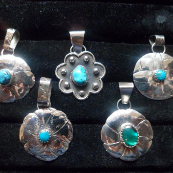 Authentic Navajo,Native American,Southwestern,sterling silver,turquoise,flower petal pendant/necklace