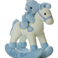 Blue 'Baby Boy' Bear & Musical Rocking Horse