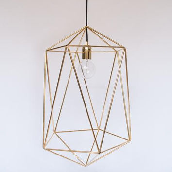 GEOMETRIC METAL LAMP Unique Pendant Lamp Minimalist Lamp industrial lighting Scandinavian Lamp Design hanging lamp Modern Chandelier Gold