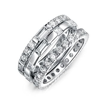 3 Set AAA CZ Baguette Eternity Wedding Band Ring 925 Sterling Silver