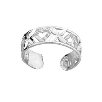 """One size fits all sterling silver, Diamond Cut Hearts """"XOXO"""" Toe-Ring"""