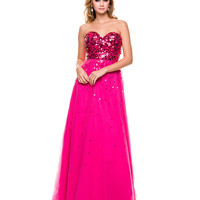 Fuchsia Sequin & Tulle Strapless Prom Dress 2015 Prom Dresses