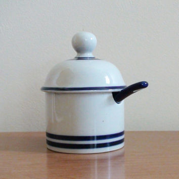 Vintage Dansk Condiment Jar with Spoon -- Blue Mist