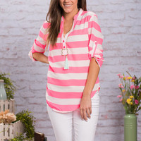 Can't Miss Me Blouse, Neon Pink
