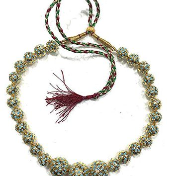Womens Statement Necklace Blue Gold Nugget Choker Festive Jewelry , Gift for Her