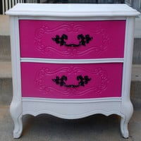 Vintage French Provincial Hello Kitty Hot Pink, White and Black Nightstand (Sold can make the same)